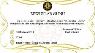 Hayri Mehmet Ürgüplü Anadolu Lisesi Mezunlar Buluşması Yapılacak