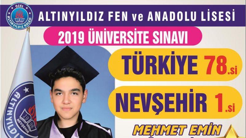 Nevşehir 1.si Türkiye 78.si Emin Özdemir'den Altınyıldız Kolejine Teşekkür