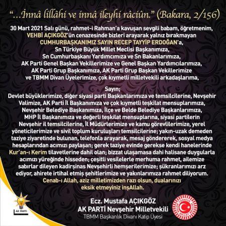 Milletvekili Mustafa Açıkgöz'den Taziyeler için Teşekkür Mesajı