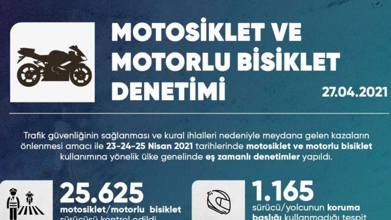 Yurt Genelinde Motosiklet ve Motorlu Bisiklet Denetimi Gerçekleştirildi