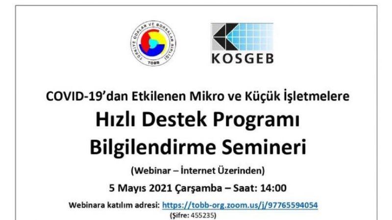 Hızlı Destek Programı Bilgilendirme Semineri Düzenlenecek