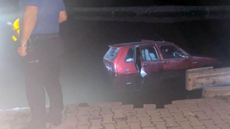 Otomobil Kanala Düştü : 2 Yaralı