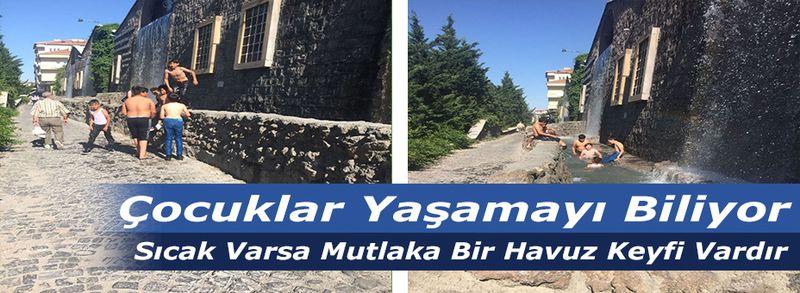 Nevşehir'de Sıcaktan Bunalan Çocuklar Şelaleyi Oyun Alanına Çevirdiler