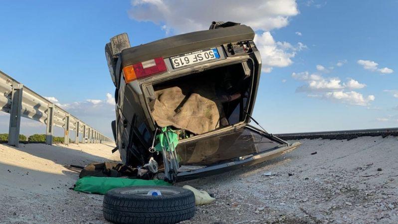 Aksaray'dan Nevşehir'e Giden Otomobil Takla Attı
