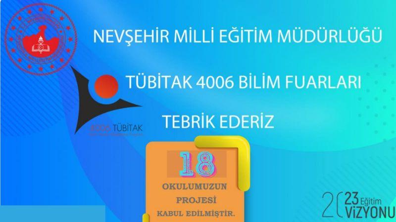 Nevşehir'de 18 Proje Tübitak 4006 Bilim Fuarı'na Kabul Edildi