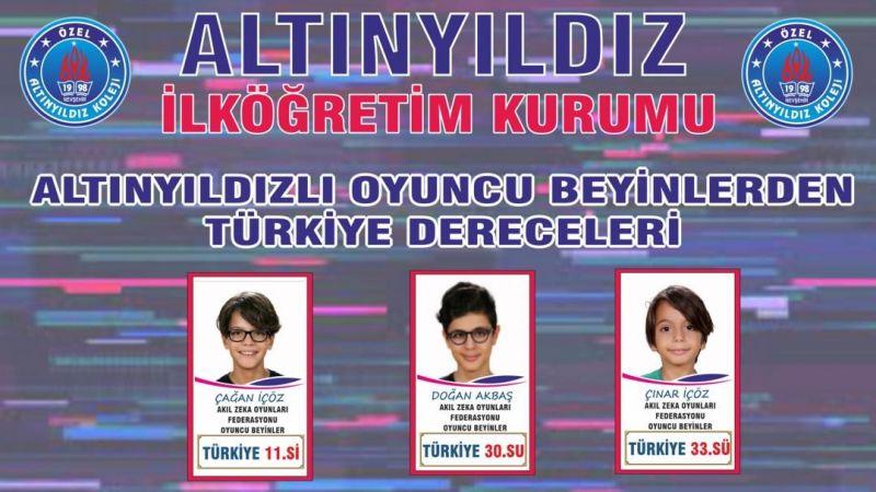 Altınyıldızlı Oyuncu Beyinlerden Türkiye Dereceleri