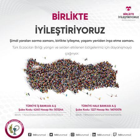 Türk Eczacıları Birliğinden Yangın ve Selden Etkilenenlere Yardım Kampanyası