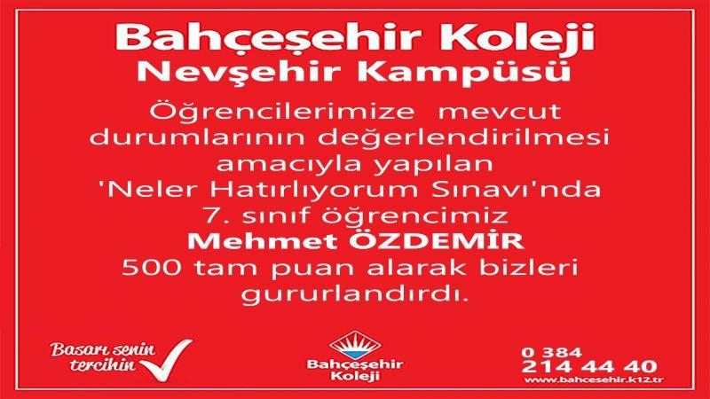 Bahçeşehir Koleji 7. Sınıf Öğrencisi Mehmet Özdemir'den Gururlandıran Başarı