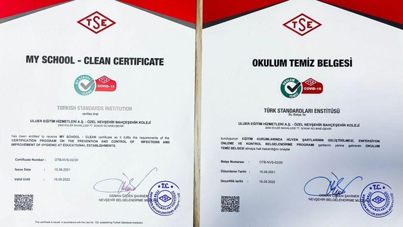 Bahçeşehir Koleji'ne TSE'den ''Okulum Temiz Belgesi''
