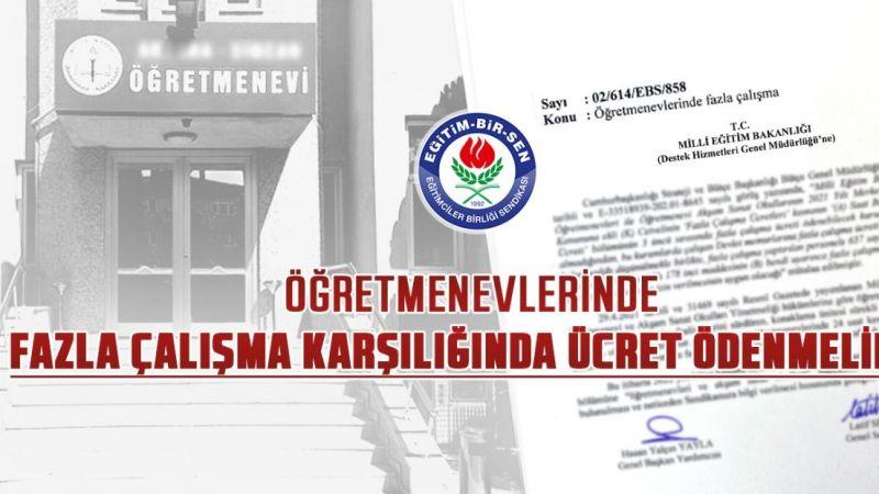 Eğitim-Bir-Sen Nevşehir Şube Başkanlığı Ek Mesai Ücreti Talep Etti