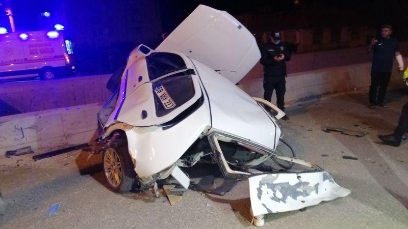 Öyle bir kaza oldu ki sürücü alt geçite fırladı