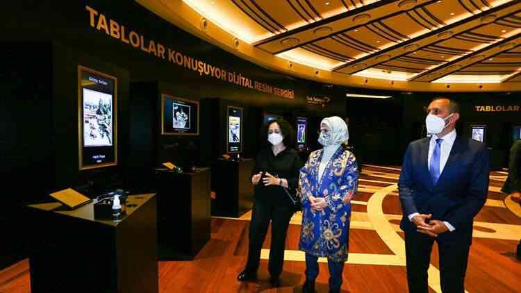 Emine Erdoğan, Millet Kütüphanesi'nde dijital resim sergisini açtı