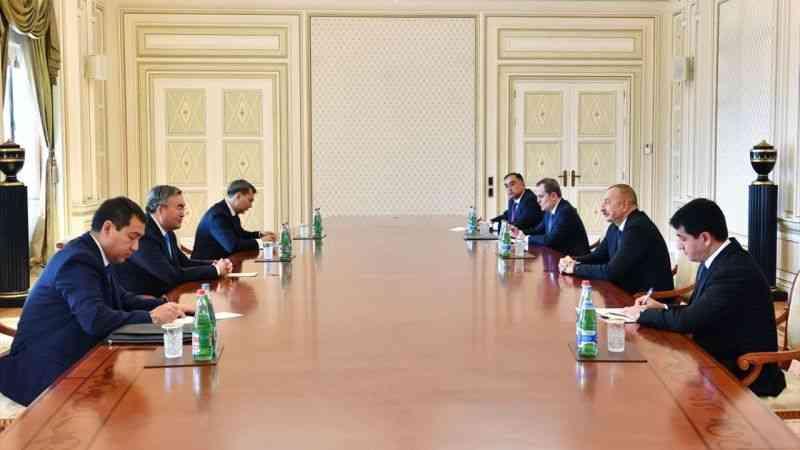 Kazakistan Başbakan Yardımcısı Tileuberdi, Azerbaycan Cumhurbaşkanı Aliyev tarafından kabul edildi