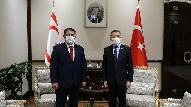 KKTC Başbakanı Saner, Cumhurbaşkanı Yardımcısı Oktay ile ortak basın toplantısında konuştu