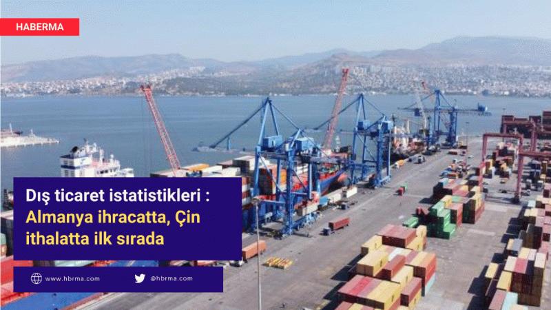 Dış ticaret istatistikleri : Almanya ihracatta, Çin ithalatta ilk sırada
