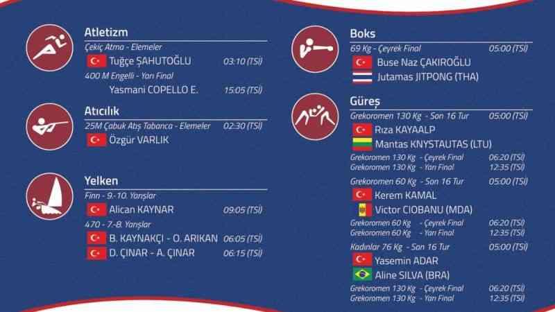 Tokyo Olimpiyatları'nda milli sporcular yarın 5 branşta yarışacak