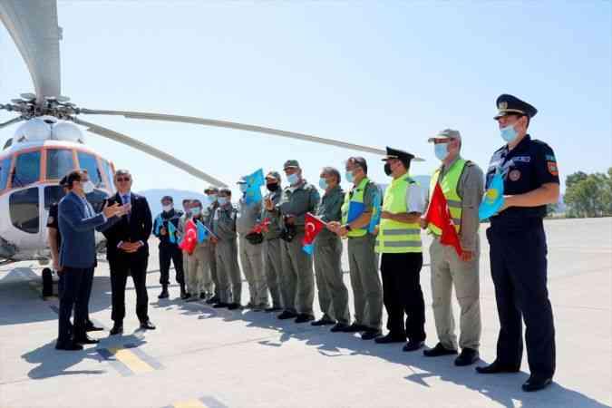 Muğla'daki yangın söndürme çalışmalarına destek veren Kazakistanlı ekip ülkelerine uğurlandı