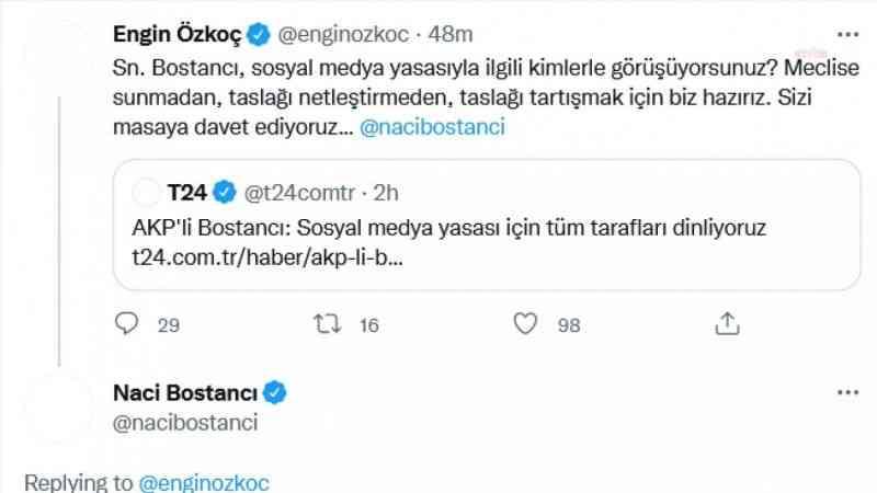 """CHP'li Özkoç'tan, AKP'li Bostancı'ya """"sosyal medya yasası"""" sorusu"""