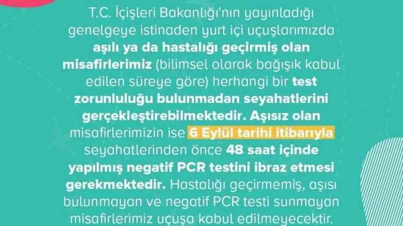 Pegasus, 6 Eylül'den itibaren PCR testi isteyeceğini açıkladı