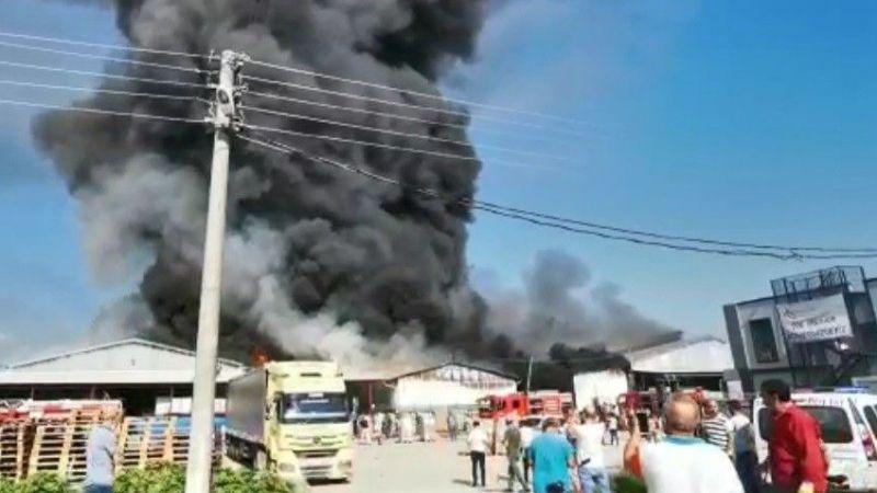 Sakarya'da süpermarketin deposu alevler içinde