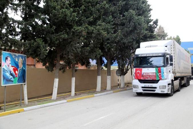 Kardeş ülke Azerbaycan'a gönderilen yardım tırı ulaştı