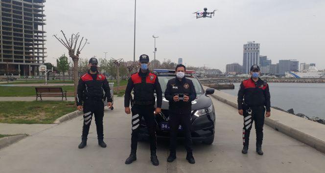 Bakırköy sahilde dronelu kısıtlama denetimi