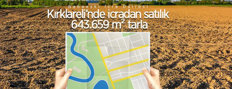 Kırklareli Babaeski'de icradan satılık 643.659 m² tarla