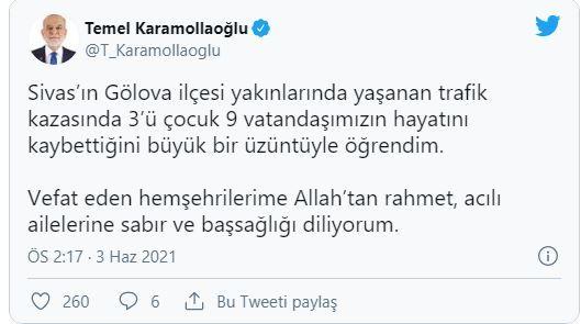 Karamollaoğlu'ndan hayatını kaybeden 9 kişi için taziye mesajı