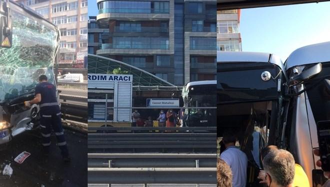 Küçükçekmece'de metrobüs kazası! Yaralılar var