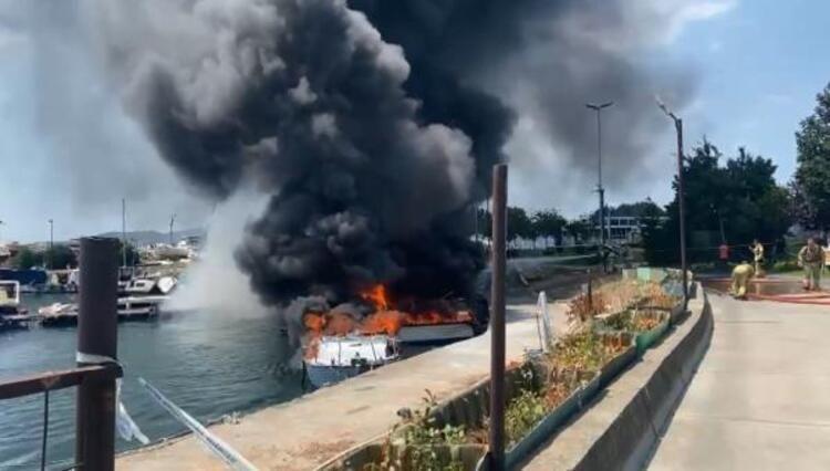 Maltepe Sahili'nde korku dolu anlar: 8 tekne alev alev yandı