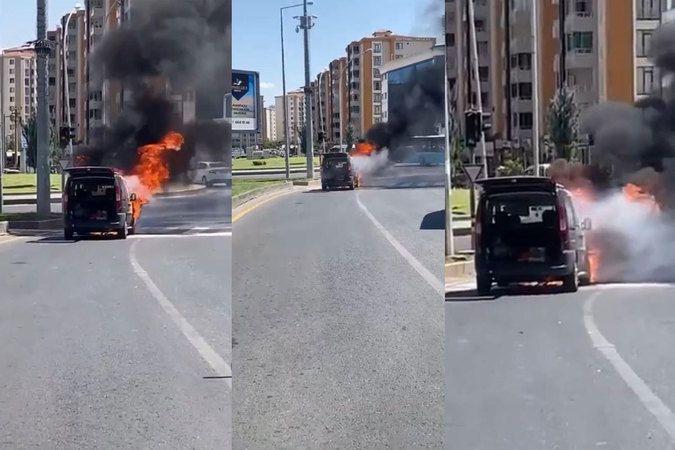 Seyir halindeyken alev alan LPG'li araç çevredekileri korkuttu