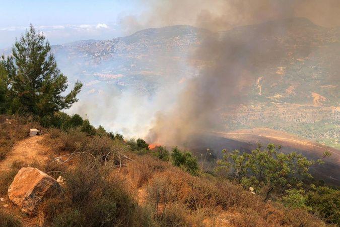 Lübnan'da ormanlık alanda yangın