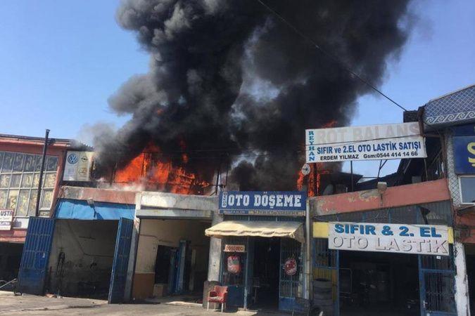 Aksaray'da sanayi sitesinde çıkan yangında 14 kişi dumandan etkilendi