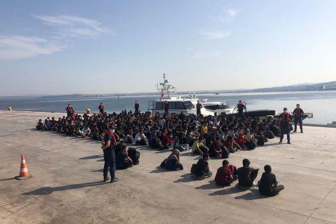 Çanakkale açıklarında 204 düzensiz göçmen yakalandı