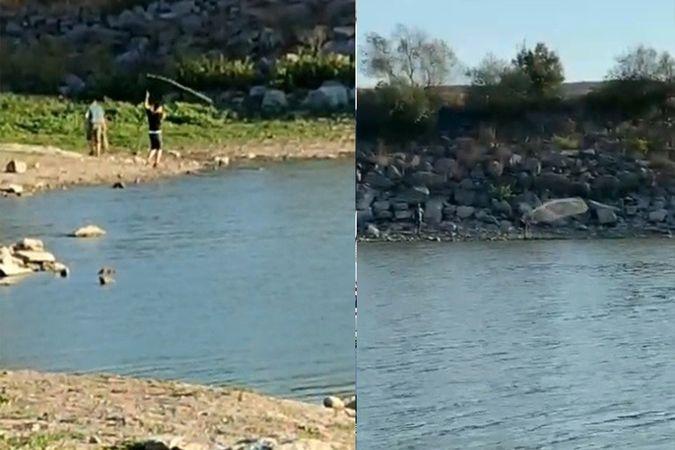 Yasağı dinlemediler, Sazlıbosna Barajı'nda ağ ile balık tuttular