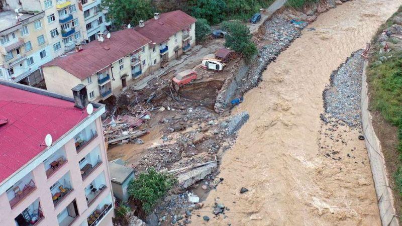 Giresun'daki selin oluşturduğu tahribat havadan görüntülendi
