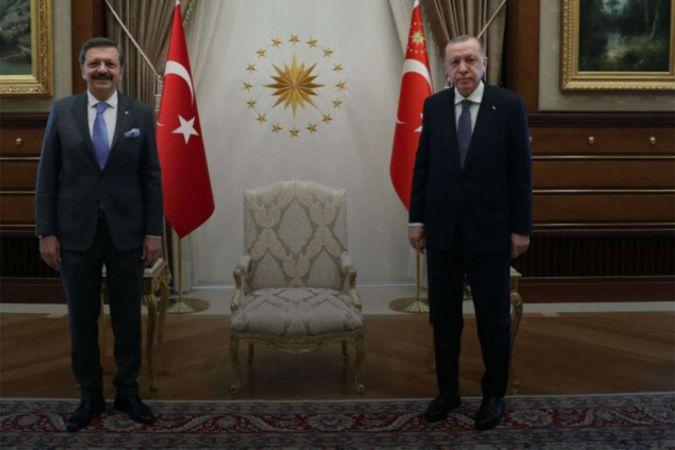 Cumhurbaşkanı Erdoğan TOBB Başkanı Hisarcıklıoğlu'nu kabul etti