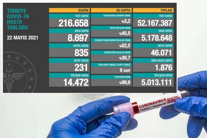 Türkiye'de Coronavirus: Son 24 saatte 231 can kaybı, 8 bin 697 yeni vaka