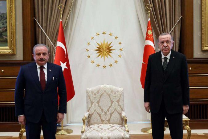 Cumhurbaşkanı Erdoğan Meclis Başkanı Şentop'u kabul etti