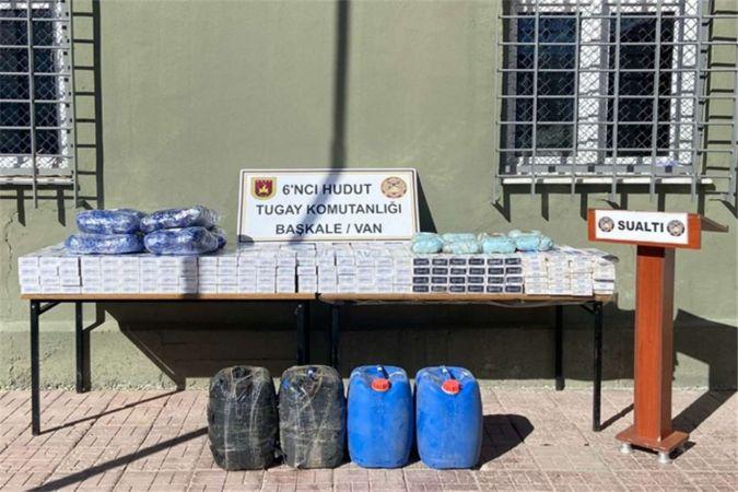 Sınırda çok sayıda uyuşturucu ve kaçak sigara ele geçirildi