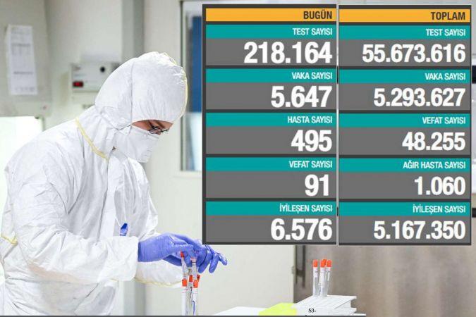 Türkiye'de Coronavirus: Son 24 saatte 91 can kaybı, 5 bin 647 yeni vaka