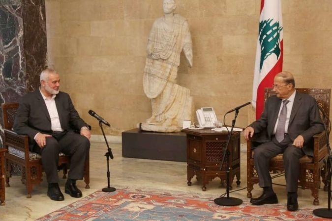 İsmail Heniyye Lübnan Cumhurbaşkanı Avn ile görüştü