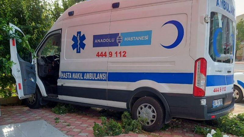 Yoldan çıkan ambulans, az daha eczaneye giriyordu
