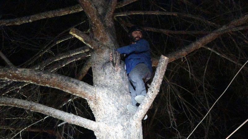 Türbülansa kapılıp, ağaca iniş yapan yamaç paraşütçüsünü itfaiye kurtardı