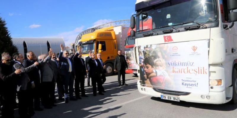 Kayseri'den Suriye'ye 50 TIR Yardım