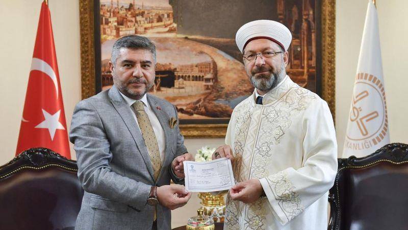 Erbaş'tan Diyanet Vakfı'na Kurban Bağışı