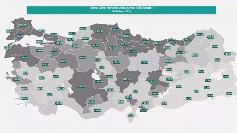 Haftalık vaka yoğunluğu haritası yayınlandı