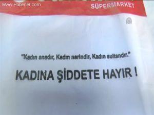 """Kadına şiddete market poşetiyle """"hayır"""" diyorlar"""