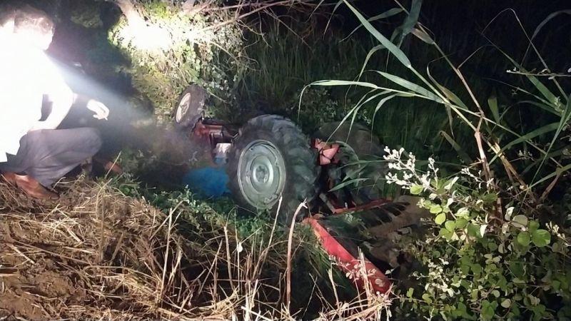 Su kanalına devrilen traktör sürücüsü hayatını kaybetti