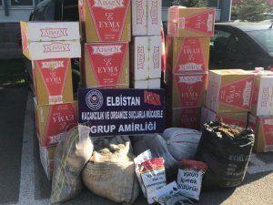 Elbistan polisinden kaçak tütün ve sigara operasyonu